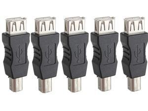 5 pcs USB Type A Female to USB Type B Male Port Converter Adapter Connector Changer