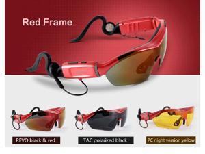 Red Touch control Bluetooth stereo headset sunglasses lens for iPhone 5s