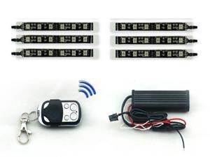 6PC 15 COLOR RGB LED MOTORCYCLE LIGHT KIT REMOTE CONTROL 6 LEDS PER STRIP MILLION COLORS