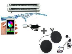 Android Operated Underwater Color Changing LED + In-Helmet MP3/iPod Stereo Headsets