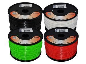 Octave 1.75mm ABS Filament 4 Spool Bundle for Reprap, MakerBot, Afinia and UP! 3D Printer, 1kg (2.2lbs) each - White, Black, ...