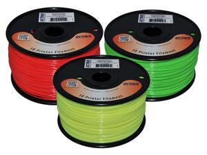 Octave Fluorescent 1.75mm ABS Filament 3 Spool Bundle - Green, Red & Yellow, 1kg 2.2lbs each for Reprap, MakerBot, Afinia ...