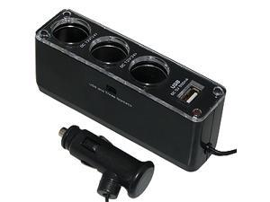 Amzer  12V/24V Triple Socket USB Car Cigarette Charger - Black