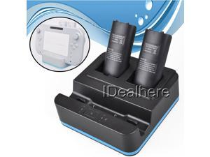 3in1 Black Controller Charger Dock+Battery Pack for Nintendo Wii U