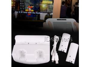 White Dual Charging Dock Stand Station Charger +Battery Pack for Nintendo Wii U