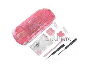 Transparent Red Full Housing Kit Shell Case for PSP 2000 +2 Screwdrivers