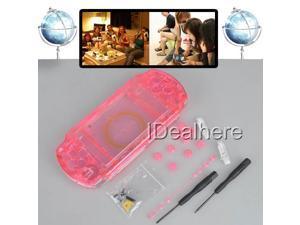 Transparent Red Full Housing Kit Shell Case +2 Screwdrivers for PSP 1000