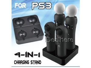 4in1 Quad Charging Stand Dock Charger Station for PS3 Move Controller Blue Light