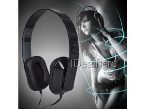 Black 3.5mm Foldable Over-Head Headphone Microphone Headphone,Earphone,Headset