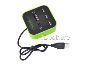 Green All-in-1 Hub 2.0 USB Ports & Memory Card Reader for SD MMC MS M2 Pro Duo