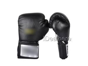 12 Oz Black PU Boxing Gloves Sparring Fight Punch Bag Training Mitts fits Sanda