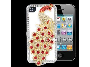 Red Bling Diamante Peacock Protect Cover Case Shell for iPhone 4 4S