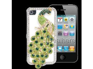 Green Bling Diamante Peacock Protect Cover Case Shell for iPhone 4 4S