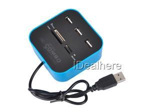Blue All-in-1 Hub 2.0 USB Ports & Memory Card Reader for SD MMC MS M2 Pro Duo