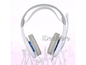 White 3.5mm PC Wired Gaming Headset Headphone With Microphone