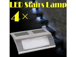 4pcs Solar White LED Stairs Lamp Lights Pathway Step Wall Mounted