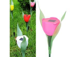 8pcs Pink Tulip LED Solar Light Courtyard Lawn Garden Decorative Lights