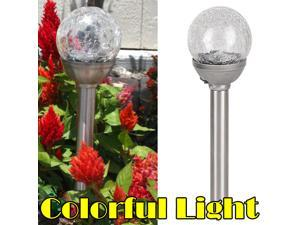Solar Crackle Glass Ball LED Colorful Light for Lawn Garden Courtyard Uses
