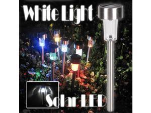 8pcs Stainless Steel Solar LED Garden Path Lamp White Light Landscape Stake