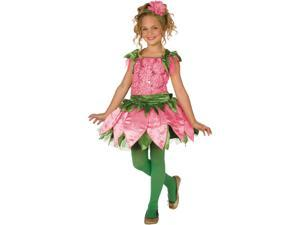Living Fiction Adorable Rose Flower 2pc Girls Costume Pink Green Medium (8-10)