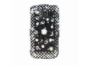LG Optimus S LS670 Hard Cover Case - Luxury Black Flowers With Full Rhinestones