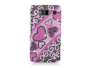 Motorola Droid Razr Maxx HD Hard Cover Case - Black/ Pink Heart With Full Rhinestones