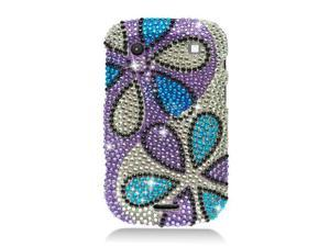 BlackBerry Bold Dakota 9900 Bold Touch 9930 Hard Case Cover - Flower Blue Purple Silver w/ Full Rhinestones