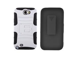 Samsung Galaxy Note II I317 Protective Case - Hybrid White/Black Curve Stand w/ Black Holster