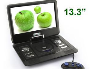 """Brand New Shockproof 13.3"""" Portable 16:9 TFT LCD Monitor 270° Swivel Screen DVD Player USB SD Card Slot + Remote+Rechargeable ..."""