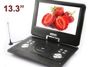 US 13.3'' Portable TFT LCD 16:9  Monitor 270° Swivel Screen DVD Player w/ Built-In USB SD Card Slot, Support AVI MPEG2 MPEG4 ...