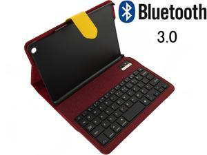 Wireless Bluetooth 3.0 Stand Keyboard with Leather Stand Case for iPad Mini 2 with Retina Display+Built-in Battery_Red