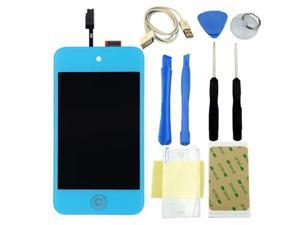 For IPod 4th Gen Glass Touch Screen LCD Assembly with Home button Replacement Kit_Light Blue