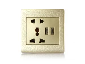 Dual USB Port Wall Plug panel 2A Charging Socket Adapter Power Outlet(Carved Champagne)