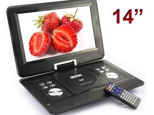 US 14'' Portable TFT LCD 16:9  Monitor 270° Swivel Screen DVD Player w/ Built-In USB SD Card Slot, Support AVI MPEG2 MPEG4 ...