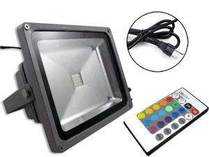 30W RGB LED Flood light Outdoor Spotlights Cord & Plug / Wireless Remote