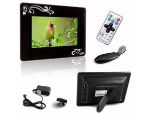 "New 7"" Widescreen Rectangle Glossy Digital Photo Frame Flower Decorated Black"