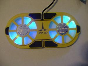 LAPTOP NOTEBOOK COOLING PAD USB 2 FANS LED YELLOW