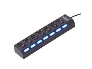 Black 7 Port USB 2.0 HUB 480 Mbps With LED Light ON/OFF Switch For Laptop PC
