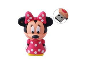 4GB USB Flash Drive Rubber Minnie Mouse Style 4G Memory Stick U Disk - Pink Dress
