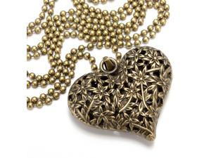 Vintage Hollow Flower Peach Heart Pendant Sweater Chain Necklace