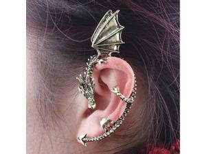 2PCS Vintage Punk Gothic Rock Dragon Pattern Ear Cuff Clip Stud Earring
