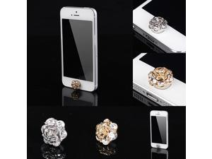 2PCS Anti Dust Silver Rhinestone Flower Home Button Cover Stickers For iPhone5 5S 5C 4/4S/3G  iPad ipadmini iPod touch Other ...