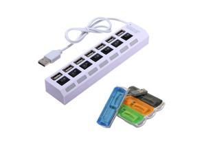 7 Ports USB 2.0 Powered Hub Adapter ON/OFF Switch + Memory Multi-Card SD Reader