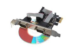 PCI-E PCI Express to 2 Ports COM 9 Pin Serial RS232 Card Adapter pc laptop Windows 98SE / Me / NT4.0 / 2000/ XP / Server ...
