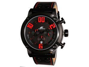 Adee Kaye Blitz-G2 AK7280 Men's IP Black Dial Leather Strap Quartz Chronograph Watch