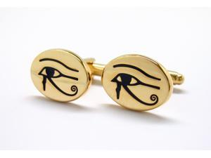 Gold Tone Eye of Horus Egyptian Symbol of Protection Royal Power Good Health Cufflinks Cuff Links