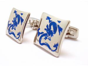 Silver Tone with Cobalt Blue Color Enter the Dragon Cufflinks Cuff Links