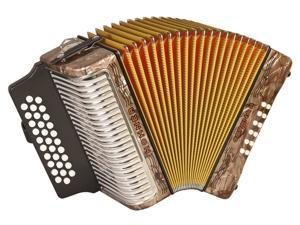 Hohner Corona II 3500 Diatonic Accordion, 31 Button, Brown, FBbEb/ FA, 3500FBR