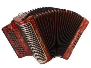 Hohner Corona Xtreme II Accordion, 34 Button, EAD/ MI, Red Pearl, CXER