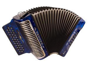 Hohner Corona Xtreme II 34 Button Accordion, FBbE/FA, Bag/Straps, Blue, CXFBL